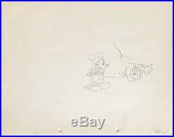 1933 Rare Disney Mickey Mouse Pluto Original Production Animation Drawing Cel