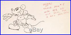 1935 Rare Walt Disney Mickey Mouse Original Production Animation Drawing Cel