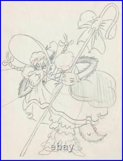 1936 Rare Walt Disney Big Bad Wolf Original Production Animation Drawing Cel