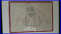 1937 RARE WALT DISNEY Snow White WITCH Original PRODUCTION DRAWING CEL Old Hag