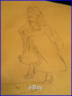 1937 Rare Walt Disney Snow White Seven Dwarfs Production Drawing Cel