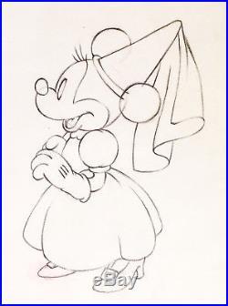 1938 Rare Disney Mickey Minnie Mouse Original Production Animation Drawing Cel