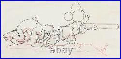 1938 Rare Disney Mickey Mouse Pluto Original Production Animation Drawing Cel