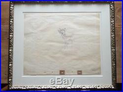 1942 Rare Walt Disney Bambi Original Production Animation Drawing Cel