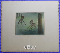 1942 Vintage Old Walt Disney Courvoisier Animation Production Cel Bambi & Faline