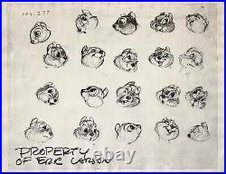 1942 Walt Disney Bambi Squirrel Original Production Animation Model Sheet Cel