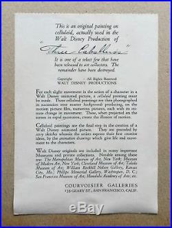 1944 WALT DISNEY signed original production cel THE THREE CABALLEROS autographed