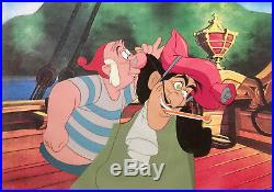 1953 Disney Peter Pan Captain Hook Smee Original Production Animation Cel Setup