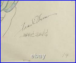 1953 Production Cel Drawing Peter Pan Captain Hook Signed Davis and Thomas