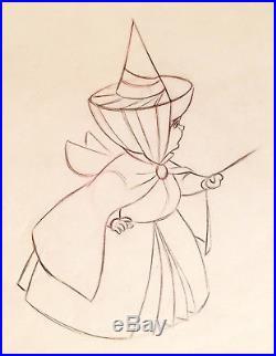 1959 Disney Sleeping Beauty Merryweather Fairy Original Production Drawing Cel