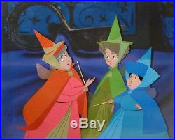 1959 Rare Disney Sleeping Beauty 3 Fairies Merryweather Original Production Cel