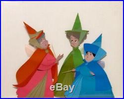 1959 Rare Disney Sleeping Beauty 3 Fairies Merryweather Original Production Cel