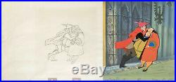 1959 Rare Disney Sleeping Beauty Prince King Original Production Drawing & Cel