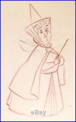 1959 Walt Disney Sleeping Beauty Flora Fairy Original Production Drawing Cel