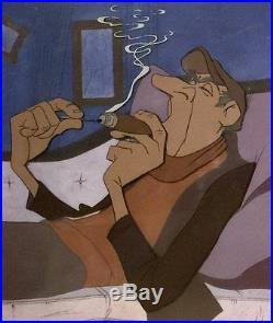 1961 Disney Dalmatians Jasper Smoking Cigar Original Production Animation Cel