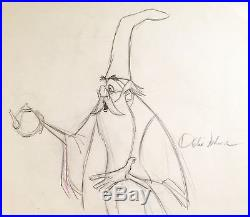 1963 Disney Sword In The Stone Merlin Signed Original Production Drawing Cel