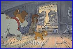 1988 Disney Oliver & Company Dodger Rita Dogs Original Production Animation Cel