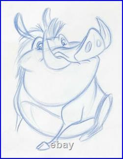 1994 Rare Disney The Lion King Pumbaa Original Production Animation Drawing Cel