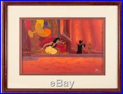 Aladdin (1992) cels and production background lamp Jasmine Jaffar Sotheby's art