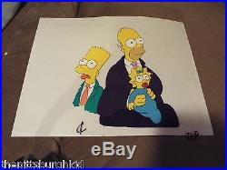 Awesome Rare The Simpsons Tv Production Cel Homer Bart Maggie Nice Priced Right