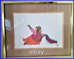 DISNEY ORIGINAL PRODUCTION CEL from 1973 Robin Hood, framed Little John