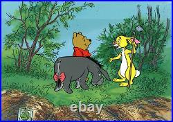 Disney 1970 Winnie the Pooh, Eeyore, Rabbit Original Production Cel On Key Set Up