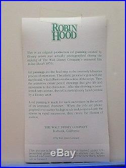 Disney 1973 Robin Hood Animated Movie Original Production Cel ONE OF A KIND COA