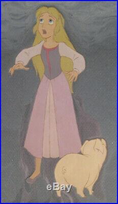 Disney Black Cauldron production cel 1985 Princess Eilonwy & Hen Wen COA seal