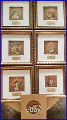 Disney Courvoisier Original Production Cel Set-All 7 Dwarfs-Happy Signed By Walt