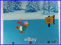 Disney Donald Duck Original production cel Ice skating on Thin Ice background