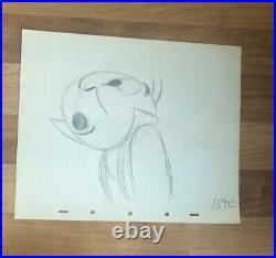 Disney, JIMINY CRICKET Production Cel Pencil Drawing 1940'S 10'' X 12'