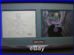 Disney Little Mermaid Production Cel and Drawing of Ursula Mixing Potions