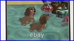 Disney Original Production cel Lady and the Tramp Art Corner puppies Christmas