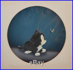 Disney Pinocchio 1940 Production Cel on Courvoisier Background of Figaro the Cat