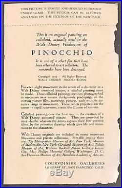 Disney Production Cel Courvoisier background Pinocchio featuring Jiminy Cricket