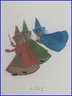 Disney Production Cel Sleeping Beauty 3 Fairies Signed Frank Thomas Johnston