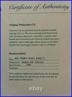 Disney Roger Jessica Rabbit Production Cel Signed Bob Hoskins L@@k