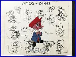 Disney Studios Ben and Me 1953 Original Production Color Model Cel of Amos