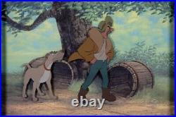 Disney THE FOX AND THE HOUND Original Production Cel Set-Up AMOS SLADE+ CHIEF