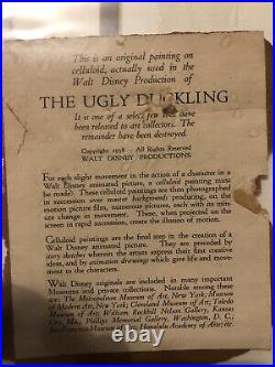 Disney Ugly Duckling Original Production Cel On Original Courvoisiet Mount -1938