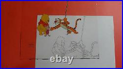 Disney Winnie The Pooh Tigger Original Production Cel & Drawing Animation Art