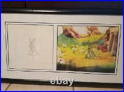Disney Winnie the Pooh- Rabbit Original Production Cel with Matching Drawing