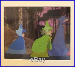 Disney hand painted production cel of Fauna from Sleeping Beauty 1959