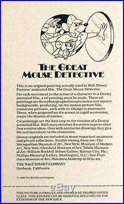 Disney's THE GREAT MOUSE DETECTIVE ORIGINAL PRODUCTION CEL Basil & Dawson