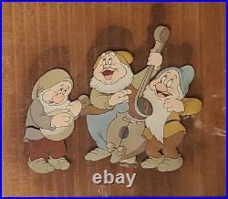 DisneySnow White-Courvoisier Original Production Cel- Sneezy, Happy, Bashful