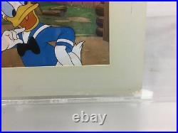 Donald Duck Art Corner Vintage Original 1950s Production Disney Cel Matted COA