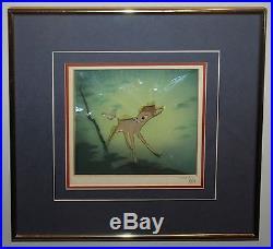 Framed Disney Production Cel on Courvoisier of Bambi inscribed by Walt Disney