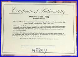 Goof Troop Disney TV Original Production Cel withcert Hand-Painted Goofy