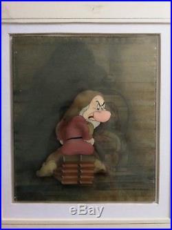 Grumpy Vintage Walt Disney Courvoisier Production Cel Snow White & 7 Dwarfs 1937