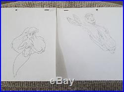 Little Mermaid Ariel cel drawing Disney 10 production drawings